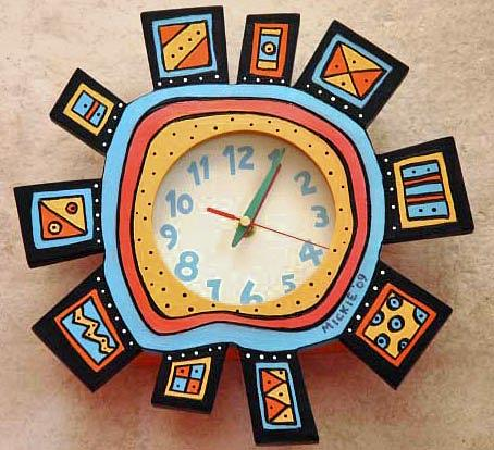 Clock Mixed Media - Abstract Clock by Mickie Boothroyd