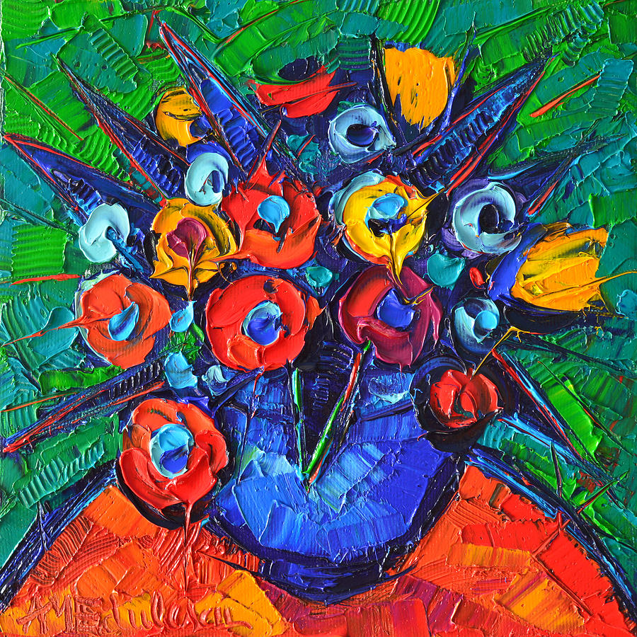 Abstract Colorful Flowers 77 Modern Impressionism Palette Knife Oil ...