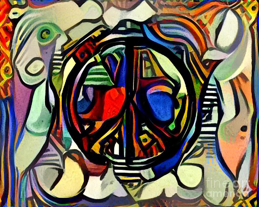 Abstract Colorful Peace Symbol Digital Art By Karolina Perlinska