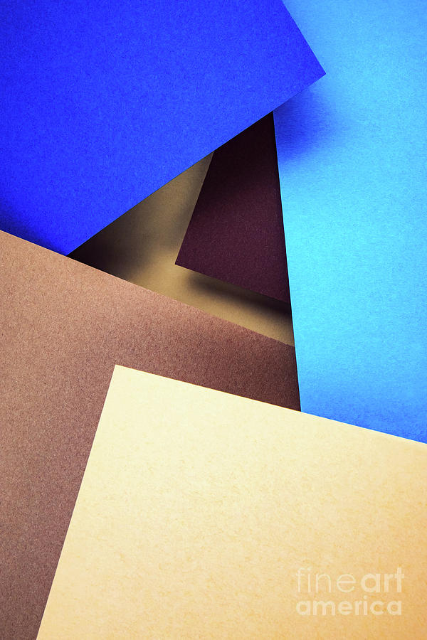 Brown Photograph - Abstract Composition With Colored Paper by Jozef Jankola