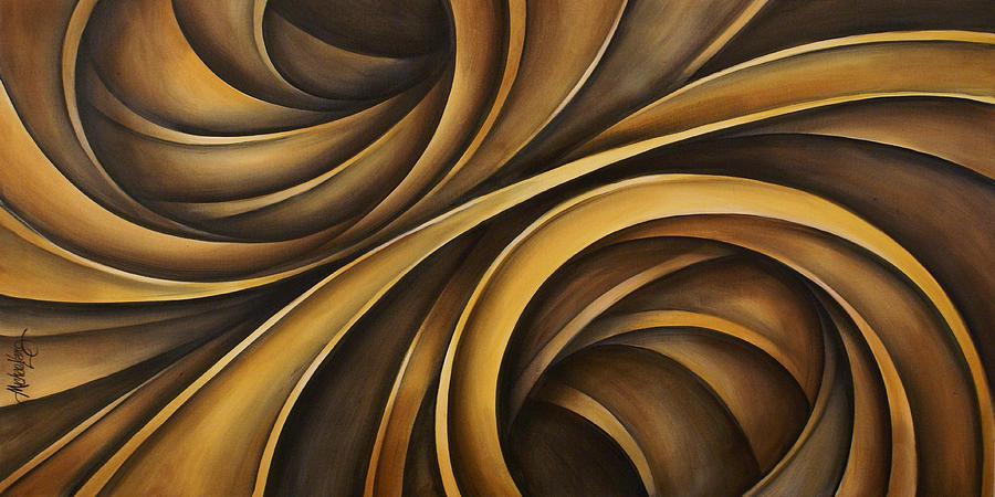 Earth Tones Brown Ribbon Abstract Flowing Motion Painting - Abstract Design 34 by Michael Lang