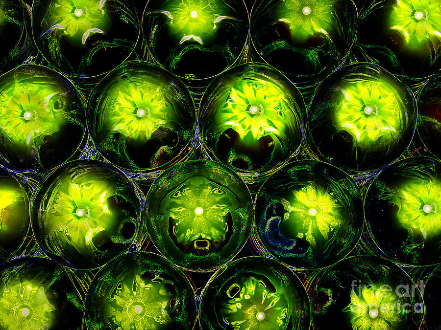Abstract Photograph - Abstract Digital Art Bubbles Flowers by Adriano Pecchio