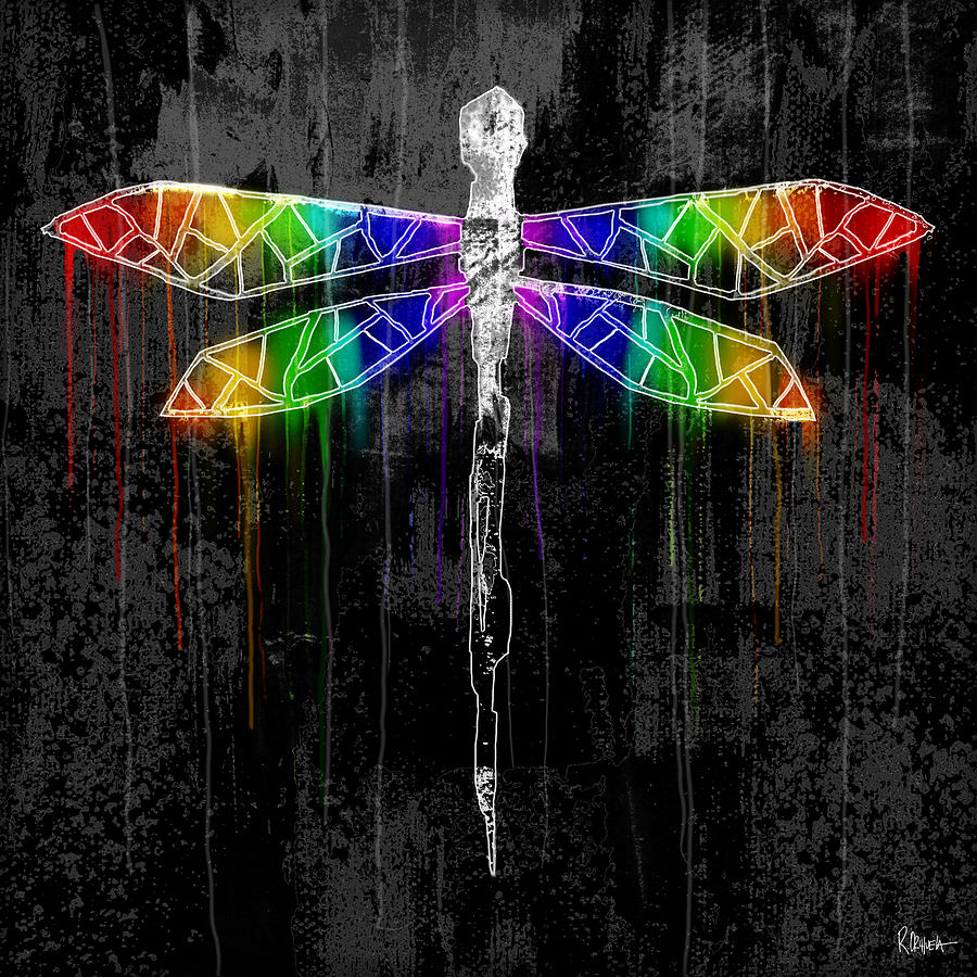 Black Spectrum Dragonfly Black Rainbow Painting By Roly O