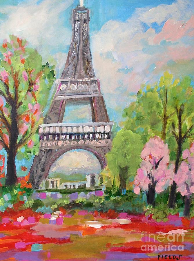 Abstract Eiffel Tower Painting By Karen Fields