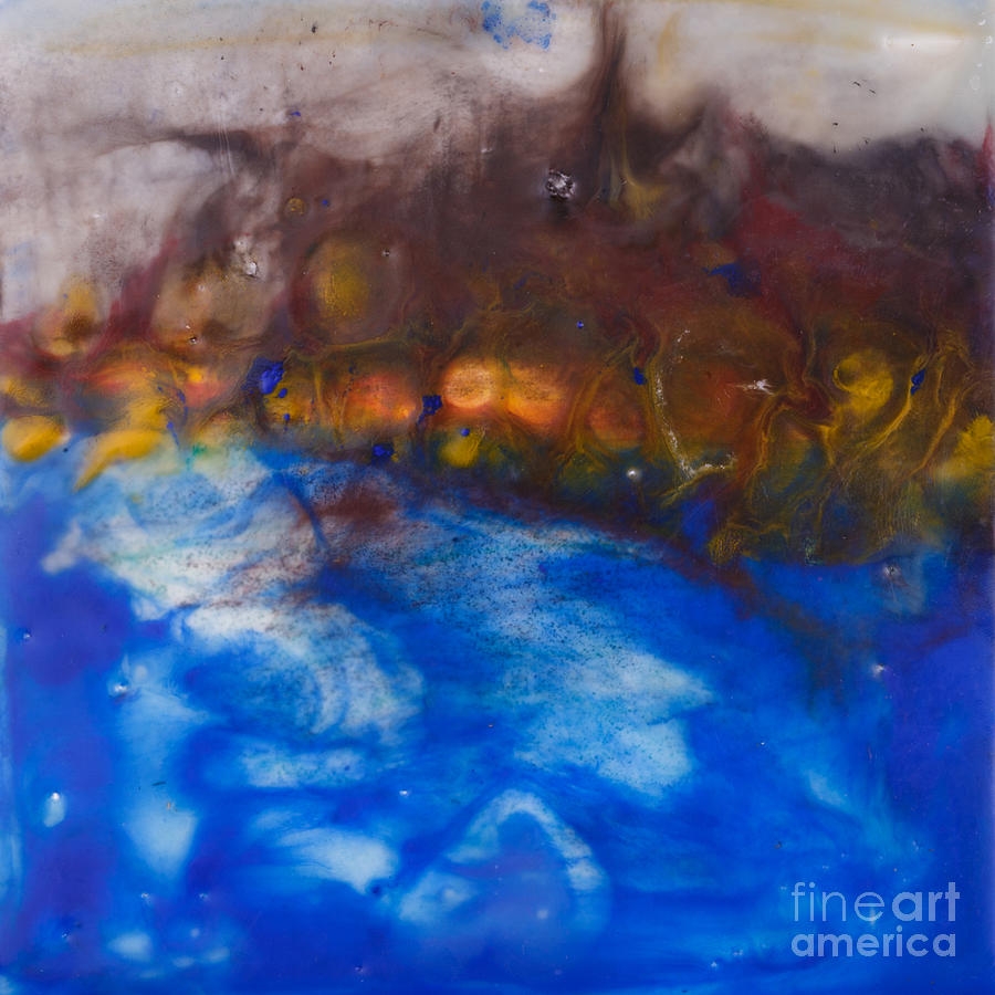 Island Painting - Abstract Encaustic Painting Ocean by Edward Fielding