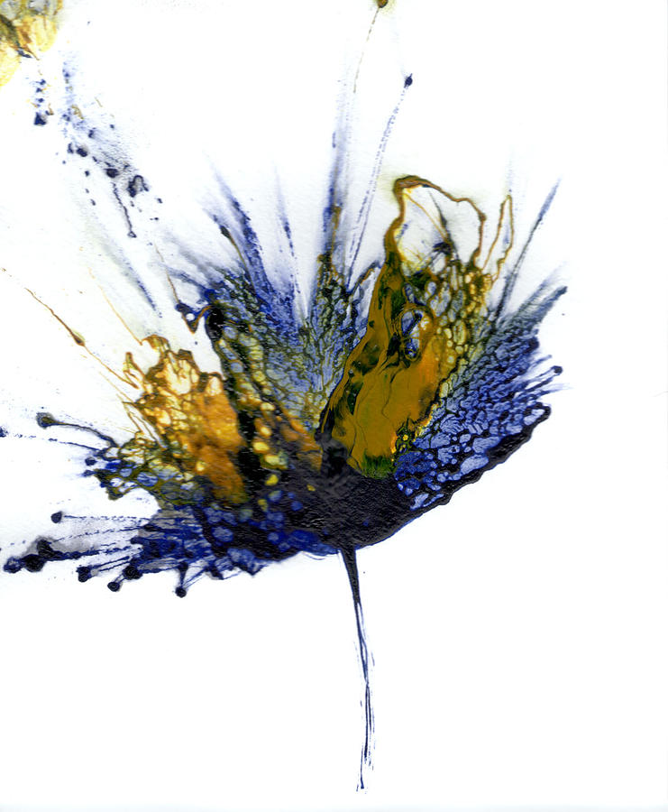 Acrylic Painting Painting - Abstract Flower Navy Blue Yellow 1 by Catherine Jeltes