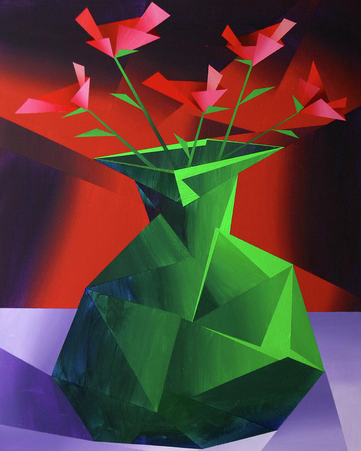 Red Roses Painting - Abstract Flower Vase Prism Acrylic Painting by Mark Webster