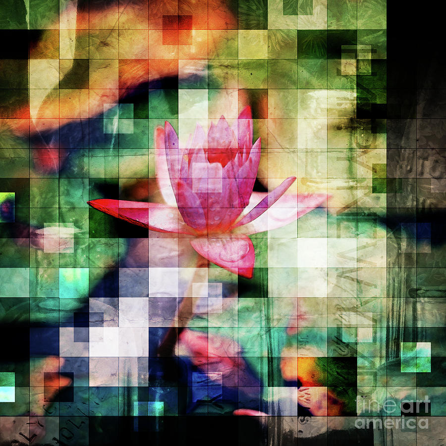 Mosaic Digital Art - Abstract Flowers And Glass Mosaic by Phil Perkins
