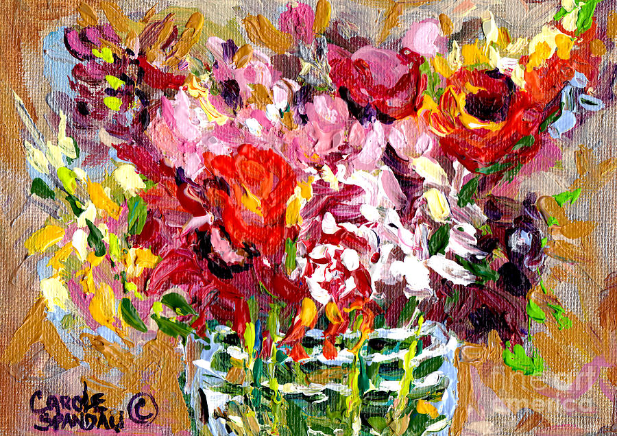 Abstract Flowers In Glass Vase Colorful Original Painting By Carole