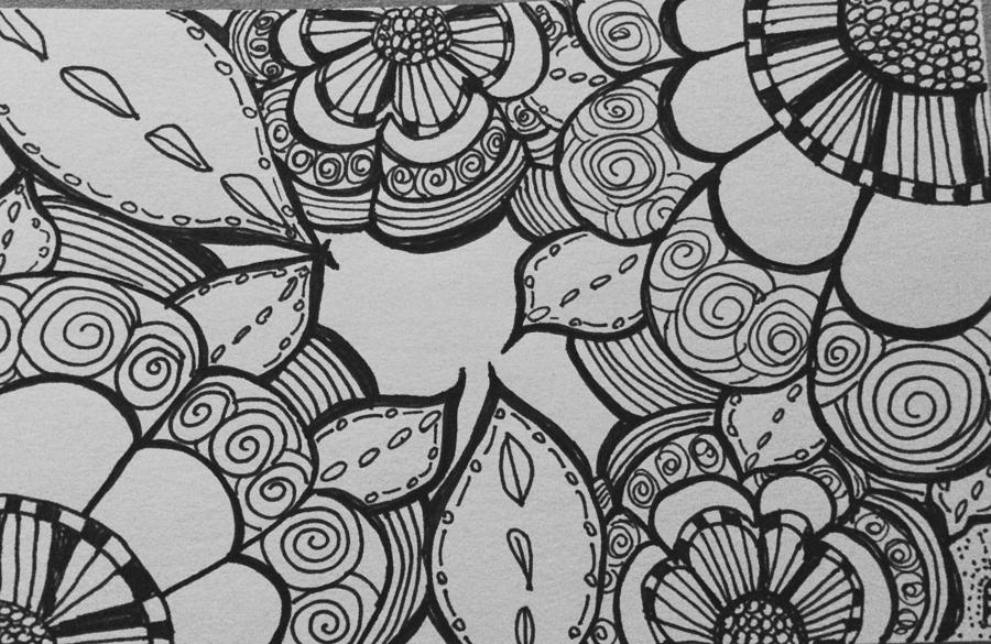 Flowers drawing abstract flowers by julie slowinski