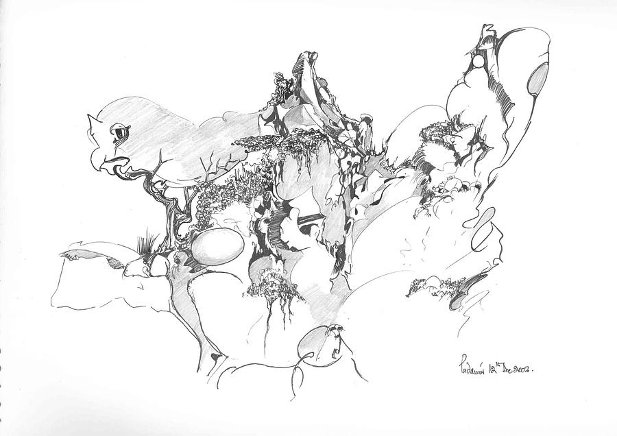 Abstract Drawing - Abstract Forms by Padamvir Singh