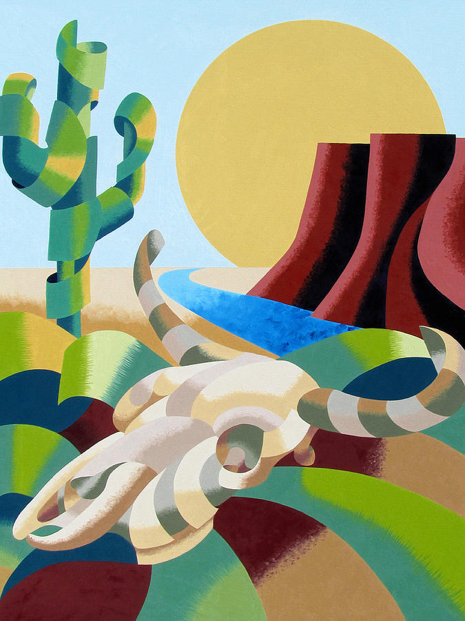 Bull Painting - Abstract Futurist Soutwestern Desert Landscape Oil Painting  by Mark Webster