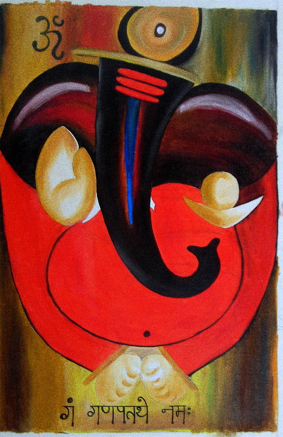 Lord Ganesha Painting - Abstract Ganesh Paintnig  by Kavitha Unachigi