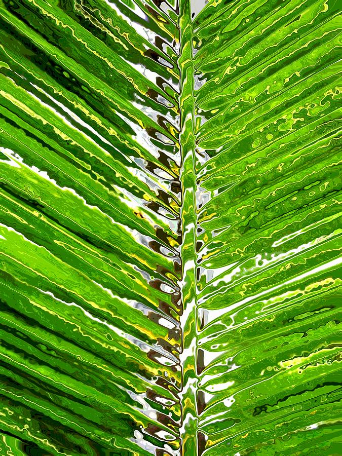 Abstract Digital Art - Abstract Garden Palm Tree by Mary Clanahan
