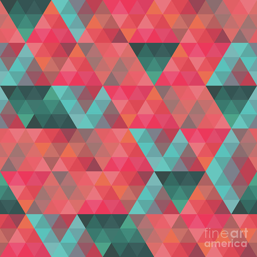 Abstract Painting - Abstract Geometric Colorful Endless Triangles Abstract Art by Tina Lavoie