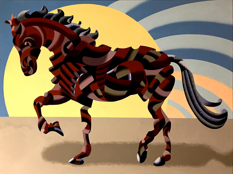 Horse Painting - Abstract Geometric Futurist Horse by Mark Webster