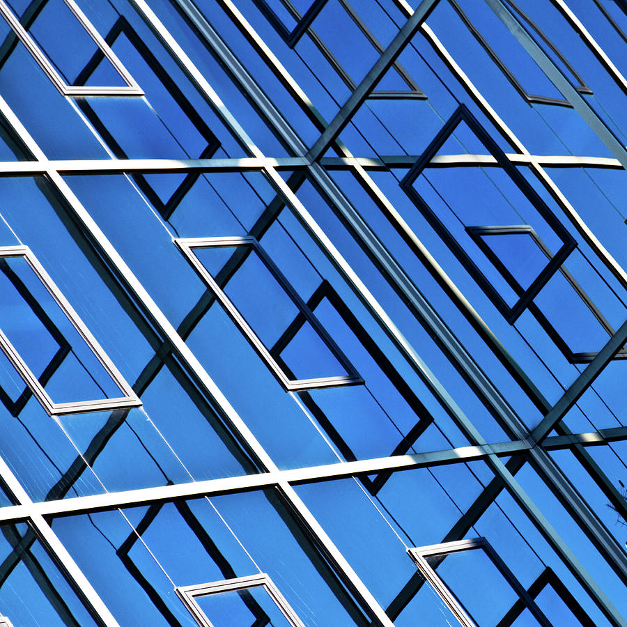 Square Photograph - Abstract Geometric Reflection by by Fabrice Geslin