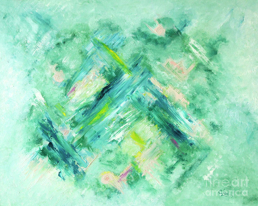Abstract Green Blue by Cindy Lee Longhini