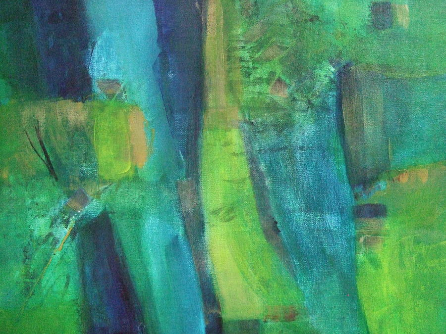 Abstract Line Art Paintings : Abstract green painting by janet visser