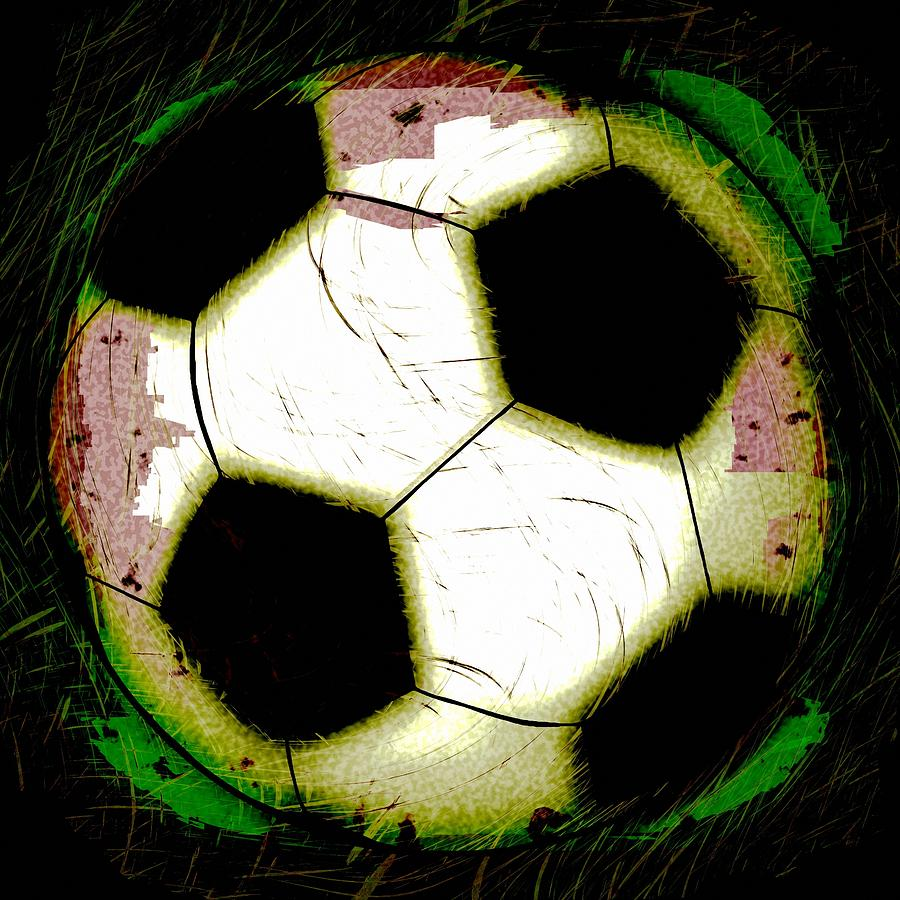 abstract grunge soccer ball digital art by david g paul