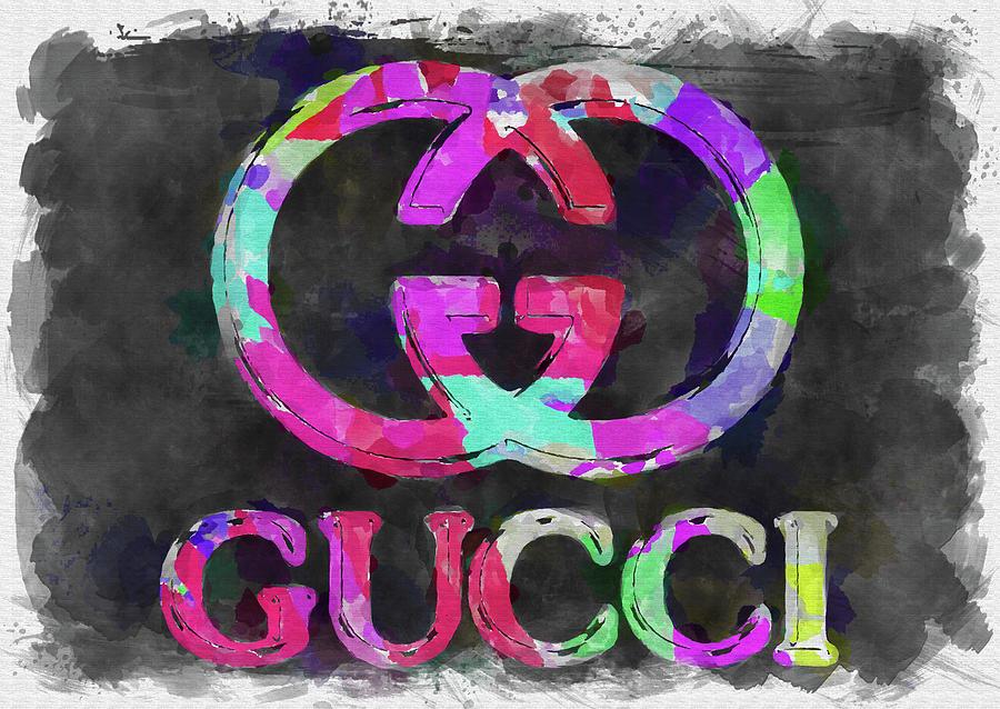 Gucci Photograph - Abstract Gucci Logo Watercolor by Ricky Barnard
