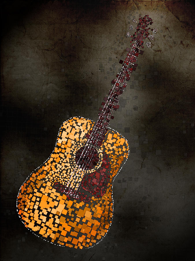 Abstract Guitar Mixed Media By Michael Tompsett