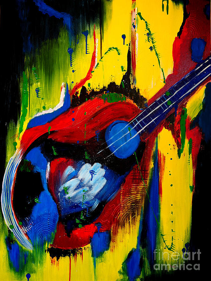 abstract guitar painting by roopa puranik. Black Bedroom Furniture Sets. Home Design Ideas