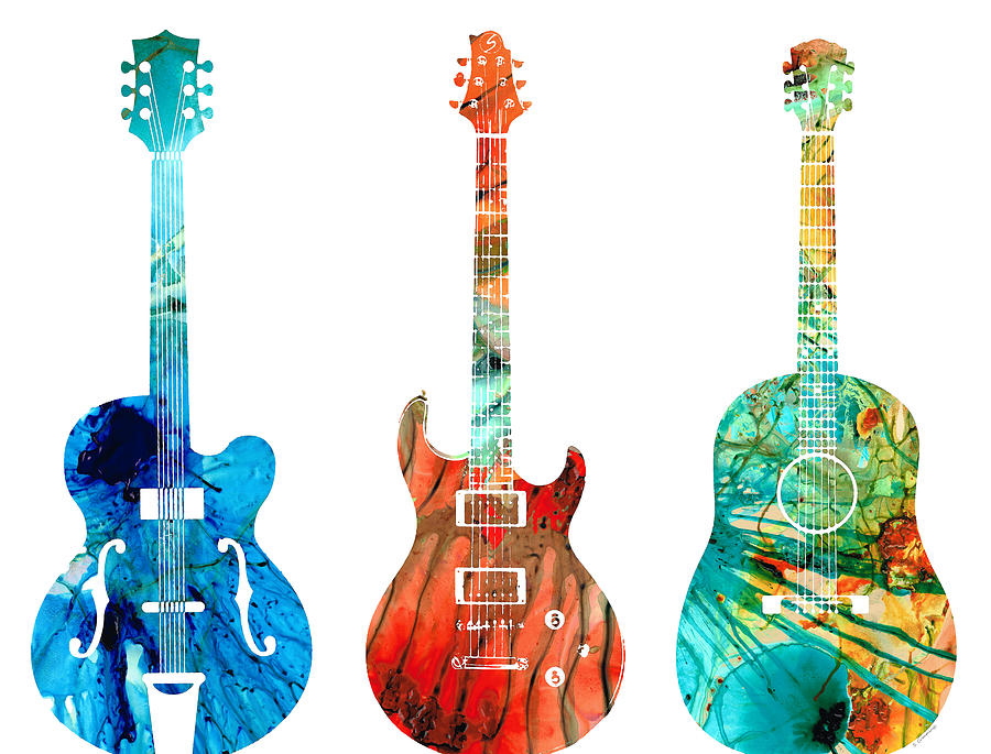 Guitar Painting - Abstract Guitars by Sharon Cummings by Sharon Cummings
