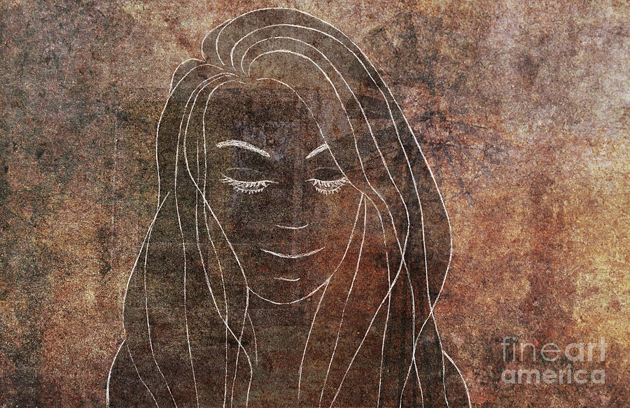 Creepy Beauty In Sand Storm Mood Chalk Drawing On Concrete Abstract Horizontal Wall Art