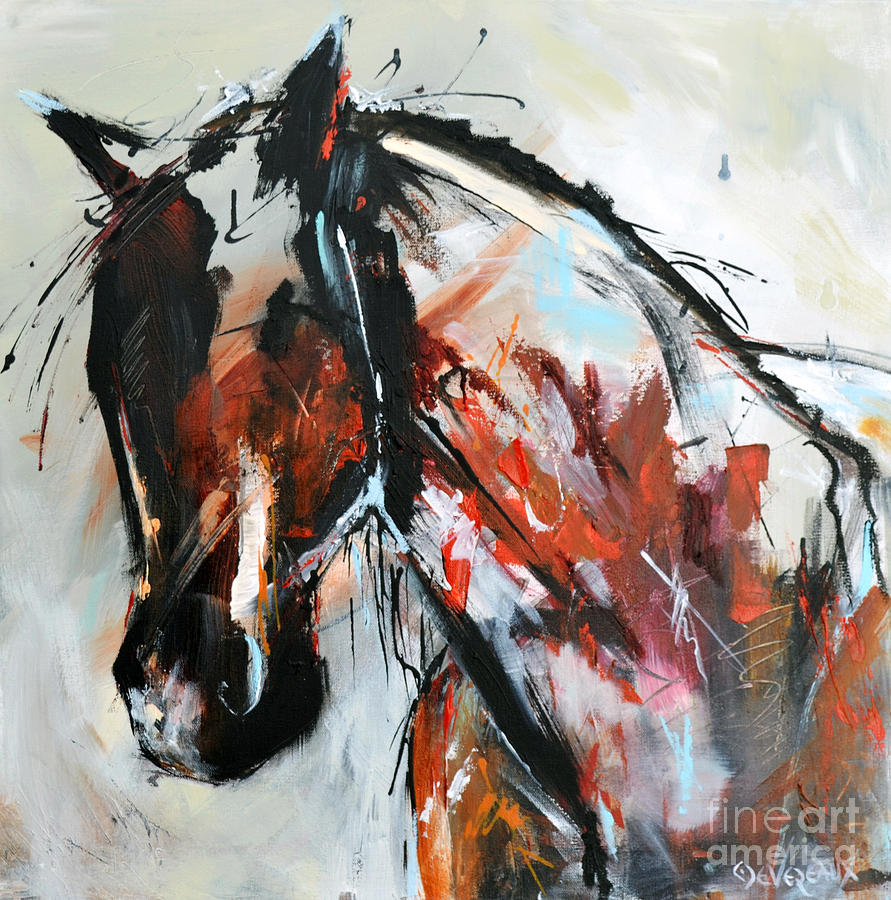 Horse Painting - Abstract Horse 12 by Cher Devereaux