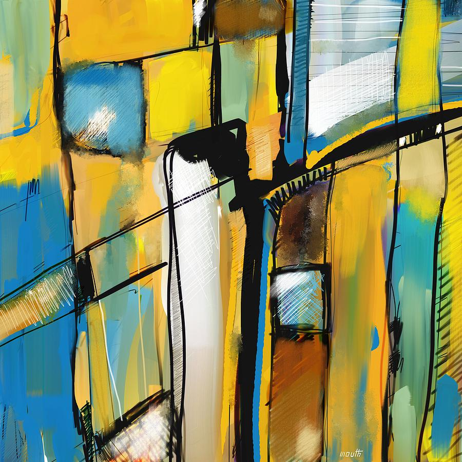 Digital Painting Painting - Abstract In Yellow And Blue by Patric Mouth