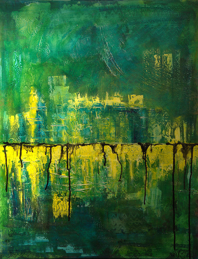 Abstract in Yellow and Green by Jocelyn Friis
