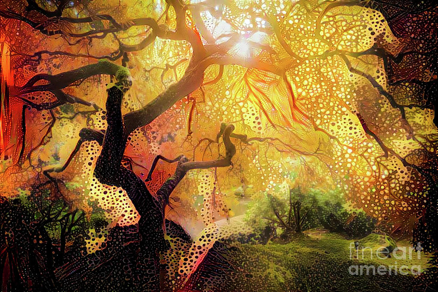 Abstract Digital Art - Abstract Japanese Maple Tree 2 by Amy Cicconi