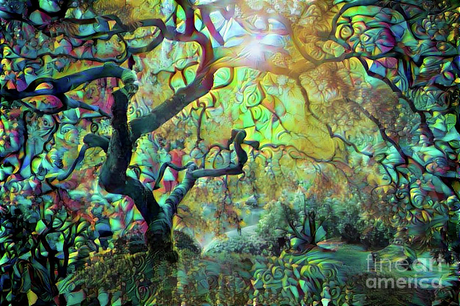 Abstract Digital Art - Abstract Japanese Maple Tree 3 by Amy Cicconi