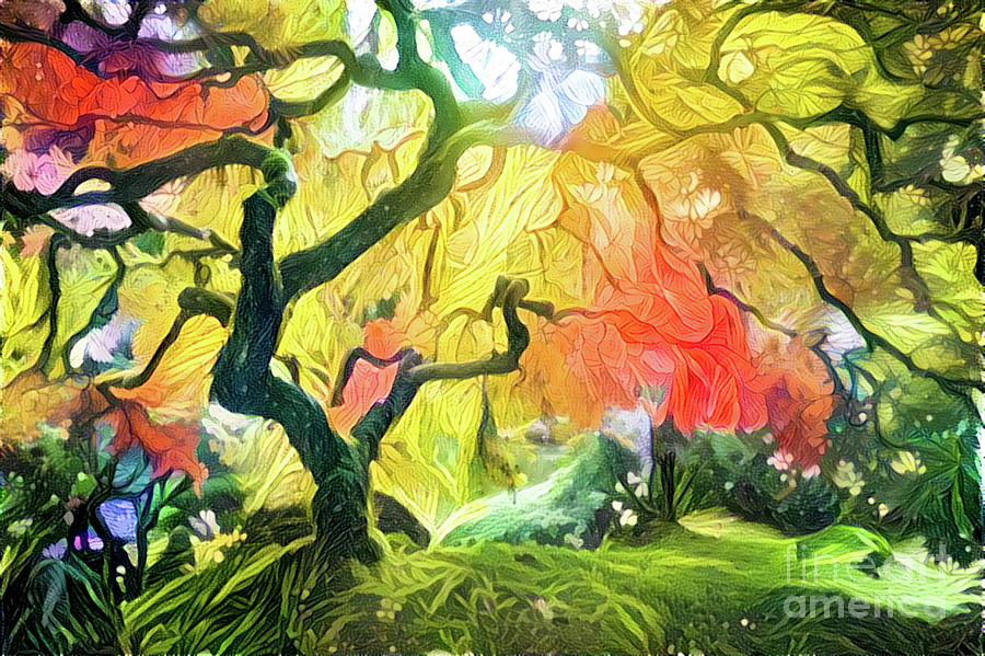 Abstract Digital Art - Abstract Japanese Maple Tree 5 by Amy Cicconi