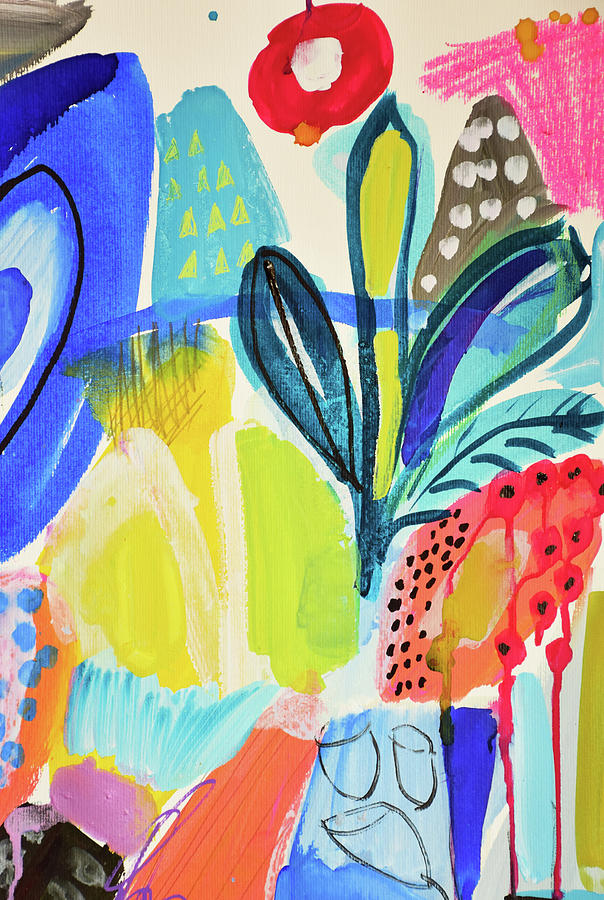 Painting Painting - Abstract Jungle And Wild Flowers by Amara Dacer