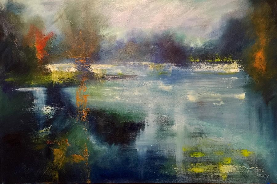 Abstract Painting - Blue Lake by Karen Langley