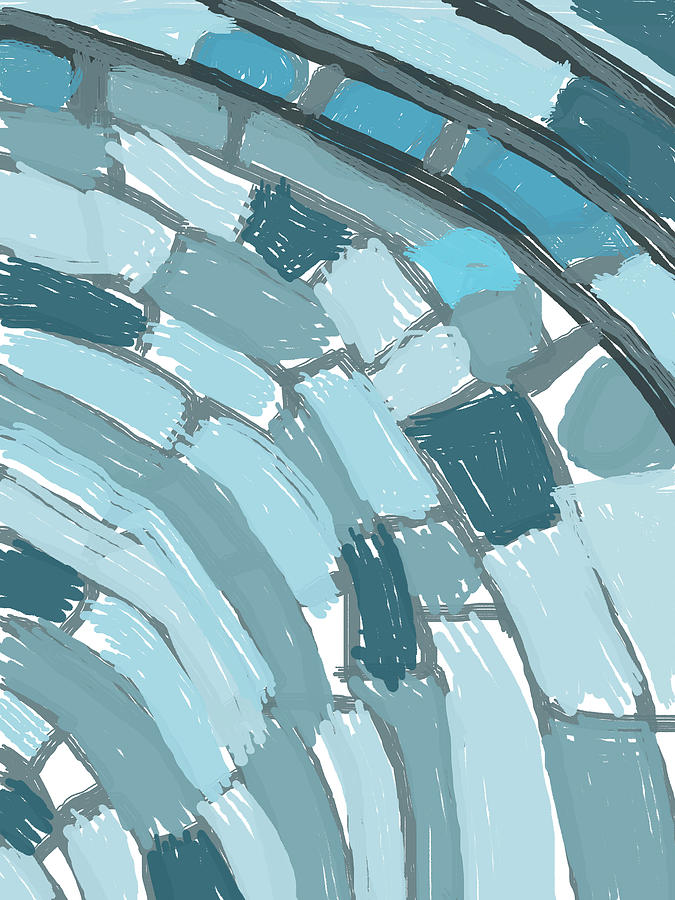 Abstract Layered Blues Digital Art