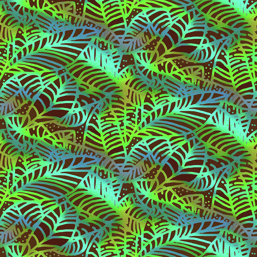 Abstract Leaves Chocolate  Shadows by Karen Dyson