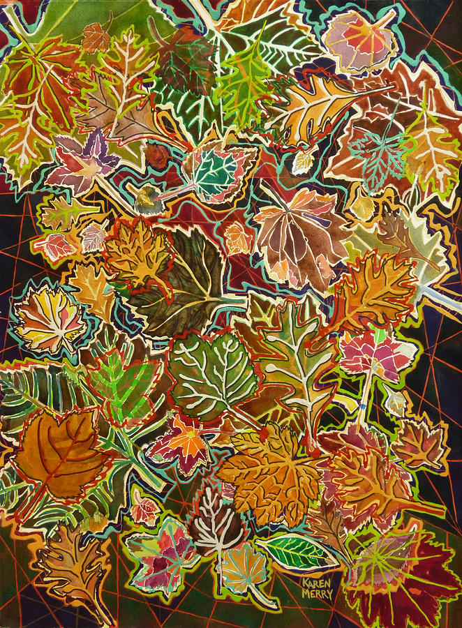 Mixed Media Painting - Abstract Leaves by Karen Merry