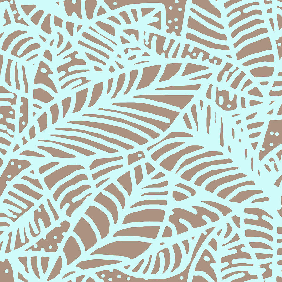 Abstract Leaves Warm Taupe Aqua by Karen Dyson