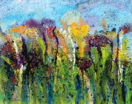 Flowers Painting - Abstract Lily Garden by Beth Maddox