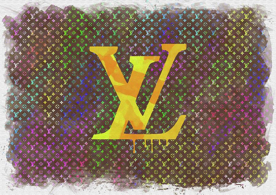 Louis Vuitton Photograph - Abstract Louis Vuitton Logo Watercolor by Ricky Barnard