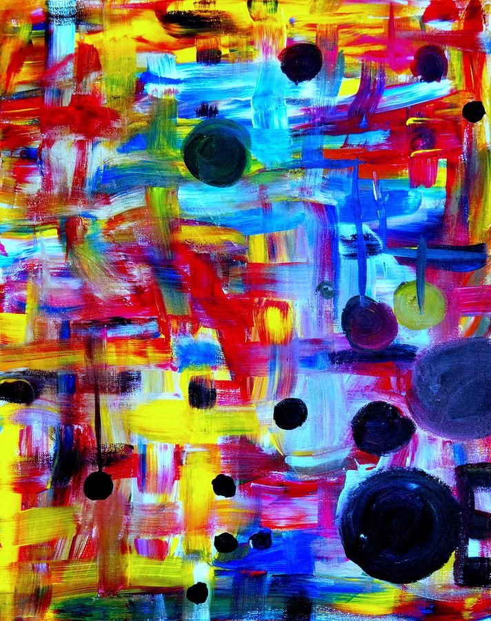 And Painting - Abstract Love And Cherry Bombs by Angela  Holladay