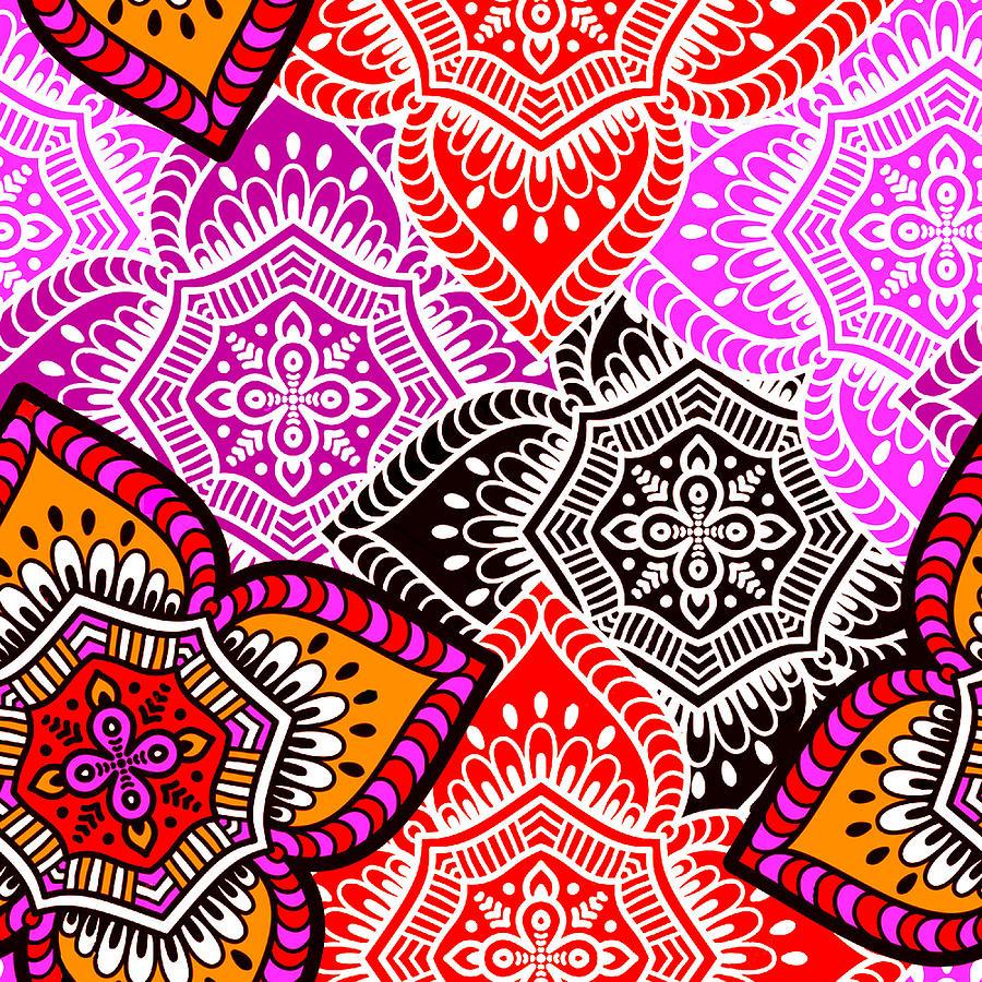 Abstract Mandala Floral Design Digital Art by Long Shot