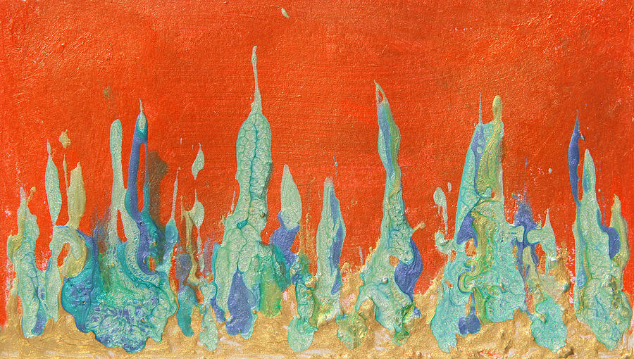 Abstract Painting Painting - Abstract Mirage Cityscape In Orange by Julia Apostolova