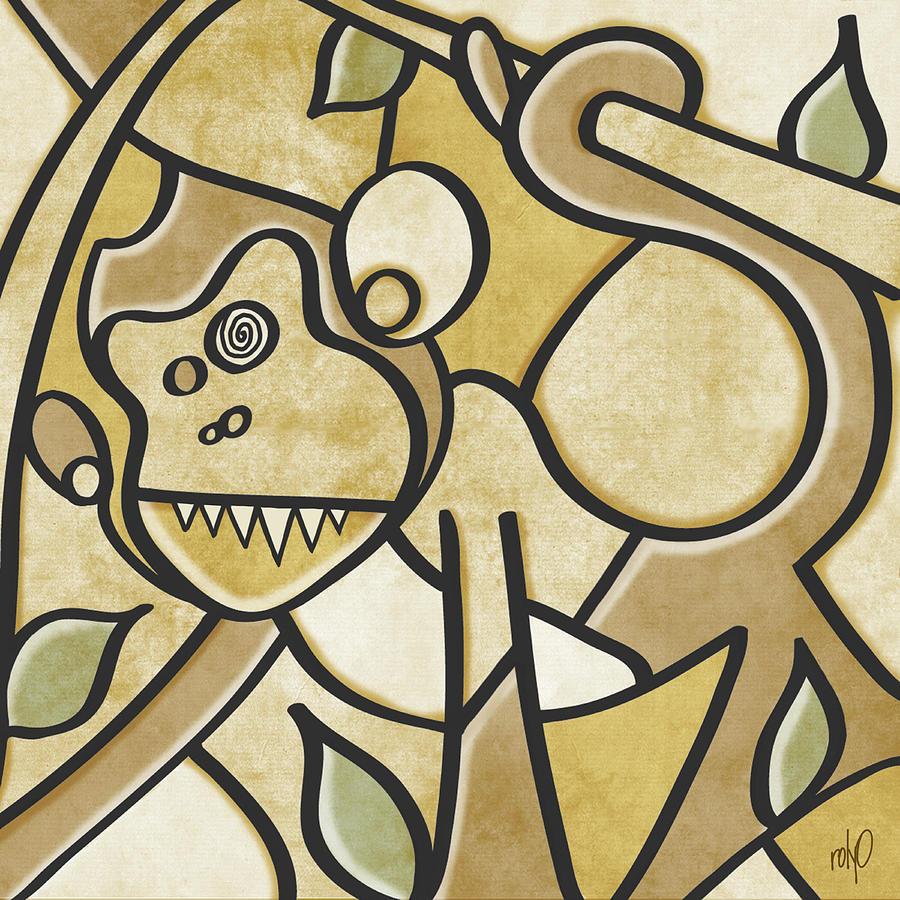 Funky Monkey - Zeeko Abstract Monkey Painting by Rolyo