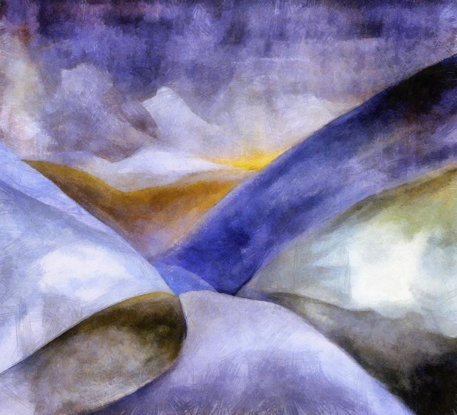 Blue Painting - Abstract Mountain Landscape by Michelle Calkins