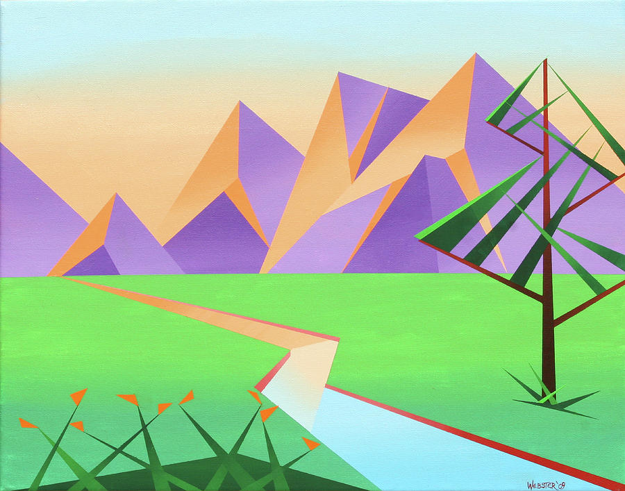 Artwork Painting - Abstract Mountain River At Sunset With Flowers Painting by Mark Webster