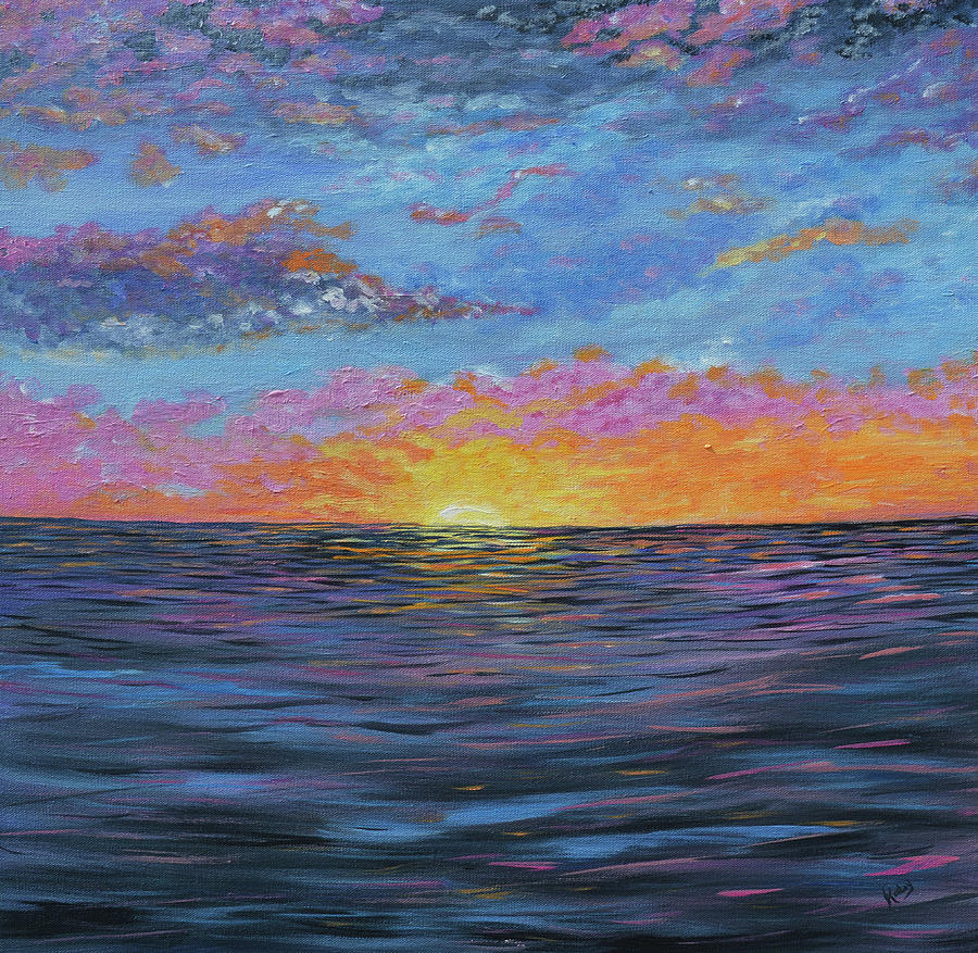 Abstract Ocean Bay Sunrise Painting By Kathy Symonds